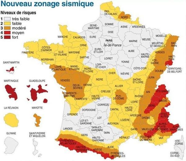 Nouveau zonage sismique en France ERNMT